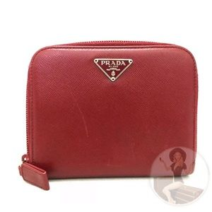 Prada Red Leather Compact Wallet